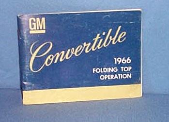 1966 GM Convertible Folding Top Operation manual