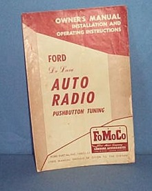 Ford DeLuxe Auto Radio Pushbutton Tuning Pwner's Manual