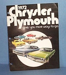 1972 Chrysler Plymouth Advertising booklet