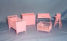 1950s doll house crib, playpen, high chair, changing table, and dresser