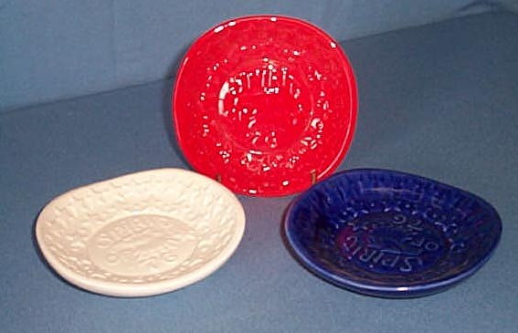 Haeger Pottery Randall Creations Spirit of 76 3-piece red, white, and blue small plates
