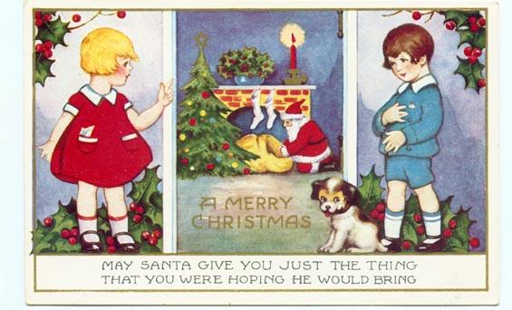 1920 Whitney Made Christmas Santa Claus postcard