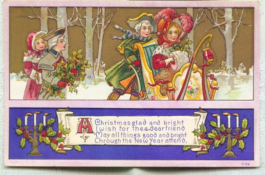 1920 Christmas  sleigh postcard