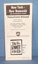 Pennsylvania Railroad New York- New Brunswick and Intermediate Points June 27, 1965 timetable