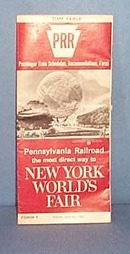 Pennsylvania Railroad New York World's Fair July 25, 1965  timetable
