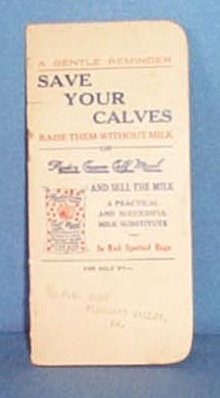 Ryde's Cream Calf Meal memo book from F. S. Yost, Pleasant Valley, PA