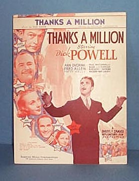 Thanks a Million Sheet Music Starring Dick Powell & Fred Allen