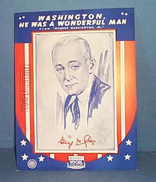 Washington, He Was a Wonderful Man Sheet Music by George M. Cohan