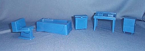 1950s doll house bathtub, sink, toilet, and hamper