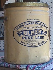 Jacob Ulmer Lard Tin, Pottsville PA