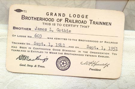 1941Brotherhood of Railroad Trainmen card