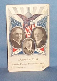 1920 Harding and Coolidge campaign card