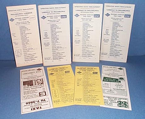 8 assorted Reading Railroad schedules 1962-1964
