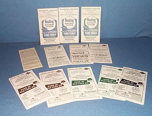 Assorted Reading Railroad schedules 1962-1965