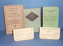 Assorted Lehigh Valley Railroad books and cards