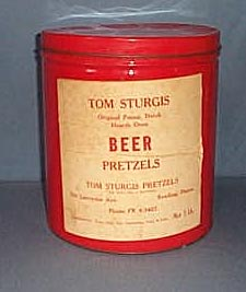 Tom Sturgis Beer Pretzels tin, Reading PA