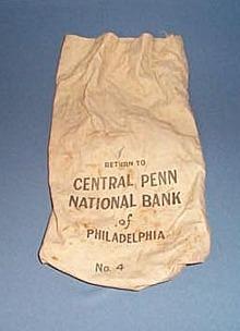 Central Penn National Bank bag, Philadelphia  PA