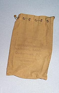 Quakertown  National Bank green bank bag, Quakertown PA