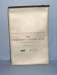 Quakertown  National Bank steel blue bank bag, Quakertown PA
