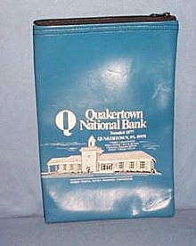 Quakertown  National Bank blue bank bag, Quakertown PA