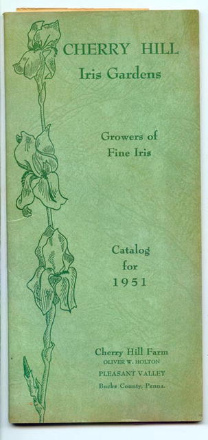 Cherry Hill Iris Gardens Catalog for 1951, Pleasant Valley, Bucks County PA