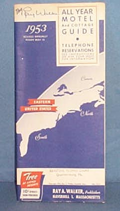 1953 Ray Walker All Year Motel and Cottage Guide, Eastern United States