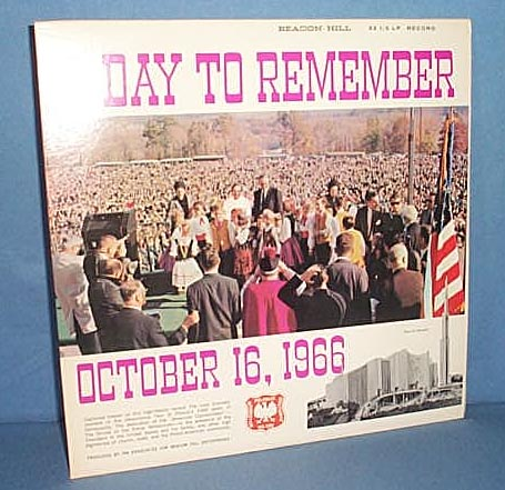 33 RPM LP A Day to Remember, October 16, 1966. The dedication of Shrine of Czestochowa, Doylestown PA