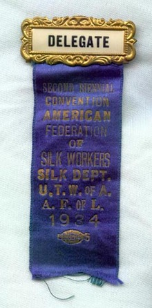 1934 Second Biennial Convention American Federation of Silk Workers Silk Dept. U.T.W. of A.,  A..F. of L. 1934 delegate's badge