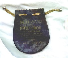 Marbles from Phil Cook, The Quaker Man, Quaker Oats Co. marble bag