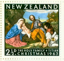 Sheet of New Zealand Chrsitmas 1963 stamps