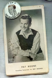 Pat Boone pinback and photo card