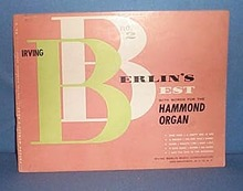 Irving Berlin's Best with Words for the Hammond Organ Number 2 music folio