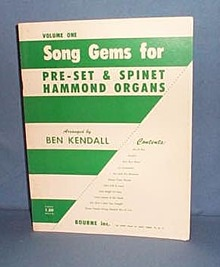 Volume One Song Gems for Pre-set & Spinet Hammond Organs
