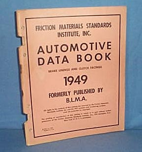 1949 Automotive Data Book, Brake Linings and Clutch Facings