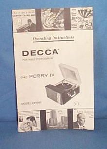 Decca Perry IV portable phonograph operating instructions booklet