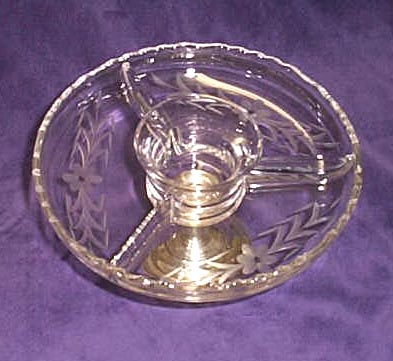 Sterling silver and etched glass divided shrimp dish