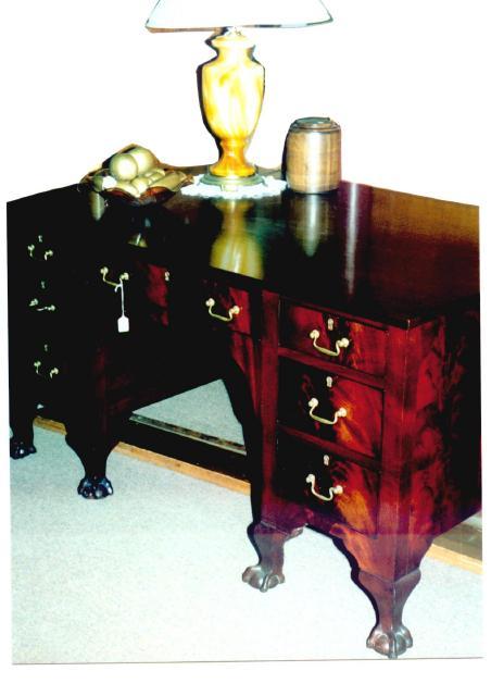 Clawfoot mahogany partner's desk