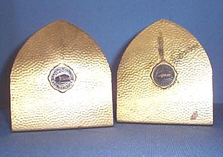Hammered brass Temple University bookends