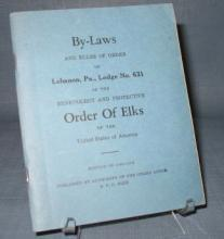 By-Laws of Lebanon PA Lodge No. 631, Order of Elks, 1940-1941