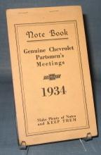 Notebook : Genuine Chevrolet Partsmen's Meetings 1934