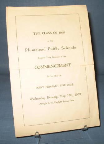 Class of 1939 Plumstead (PA) Public Schools Commencement program