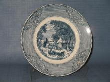 Monarch (Japan) Currier and Ives blue dinner plate