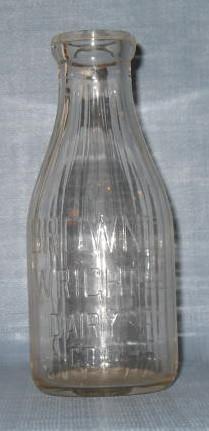 Brown Wright Dairy Co. Scranton PA embossed quart milk bottle