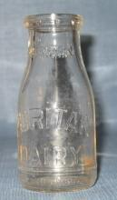 Puritan Dairy Perth Amboy NJ embossed half-pint milk bottle