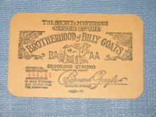 Brotherhood of Billy Goats card from Chicago Herald and Examiner