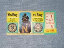 William & Mary versus Navy, October 9, 1965 football ticket