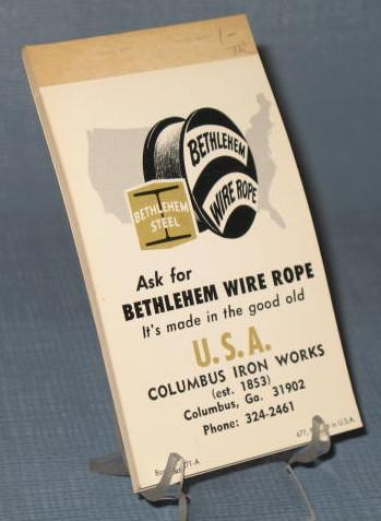 Bethlem Steel Wire Rope, Colubus Iron Works tablet