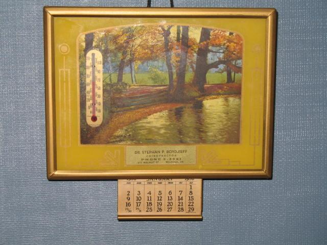 Dr. Stephan P. Boydjieff, Chiropractor, Reading, Pennsylvania thermometer and calendar