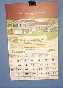 1966 K. and L. Company, Inc. calendar, Quakertown PA
