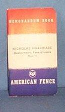 Nicholas Hardware, Quakertown, PA memorandum book